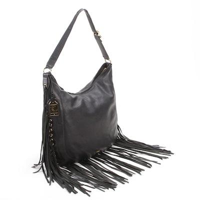 Lauren by Ralph Lauren Black Leather Fringed Hobo Bag