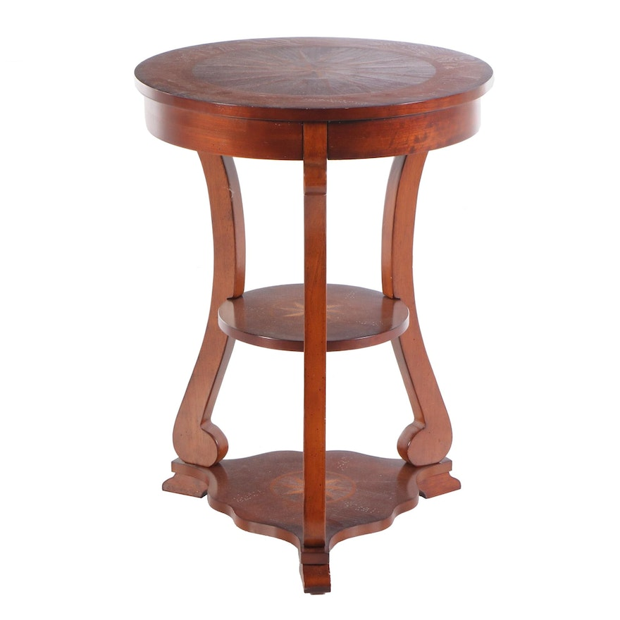 Marquetry Three-Tier Side Table