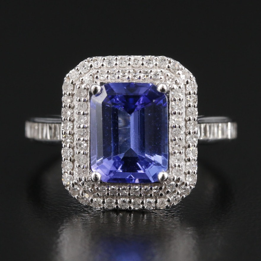 EFFY 14K White Gold Tanzanite and Diamond Ring