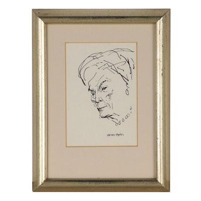 Aaron Sopher Ink Portrait, Mid 20th Century