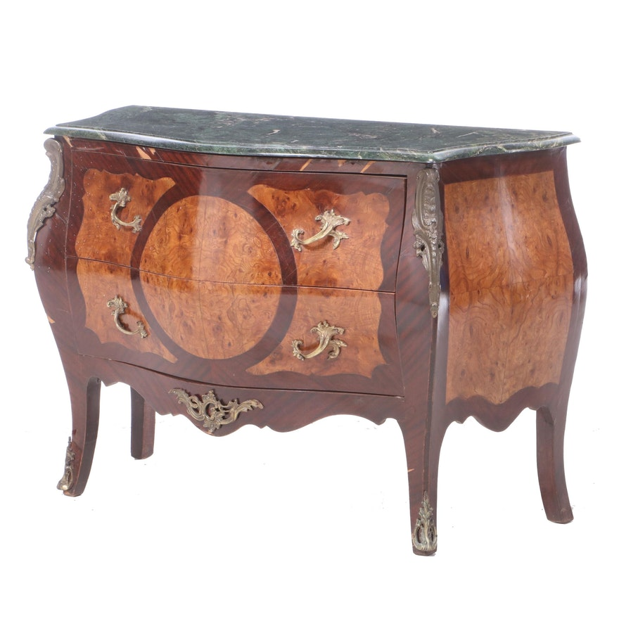 Louis XV Style Gilt-Metal Mounted Marble Top Commode, Late 20th Century