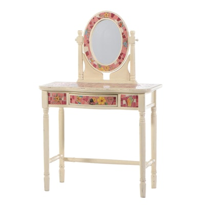 White-Painted and Tile-Decorated Child's Vanity Table with Mirror