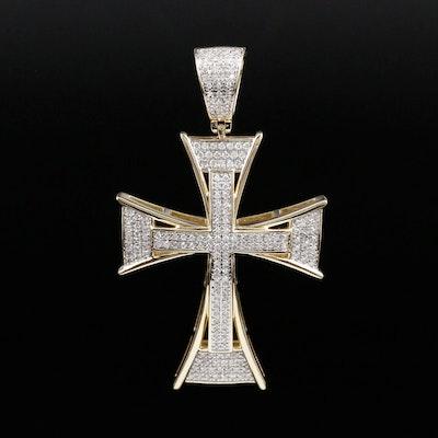 10K Yellow Gold Diamond Cross Pendant