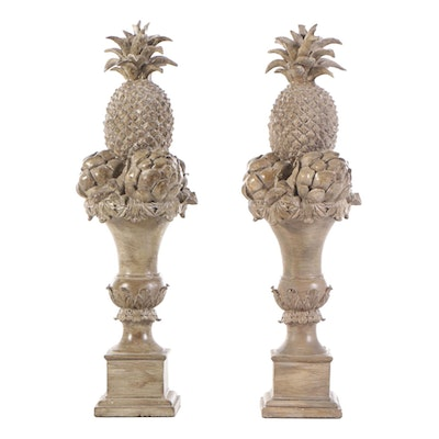 Pair of Faux Stone Pineapple Urns