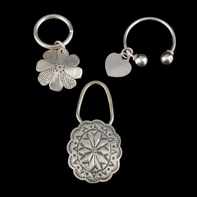 Sterling Silver Floral, Heart and Madalas Key Rings