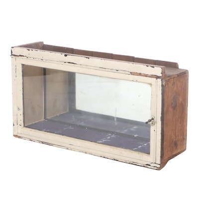 Painted Wood Mirror-Back Display Cabinet, First Half 20th Century