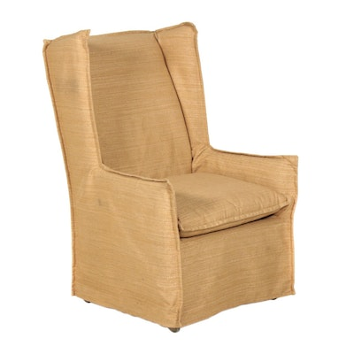 Lee Furniture Slip-Covered Wingback Armchair