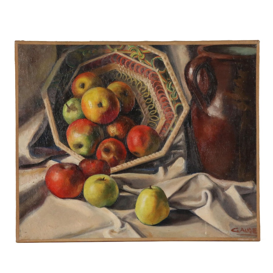 Still Life Oil Painting with Apples, Early to Mid 20th Century