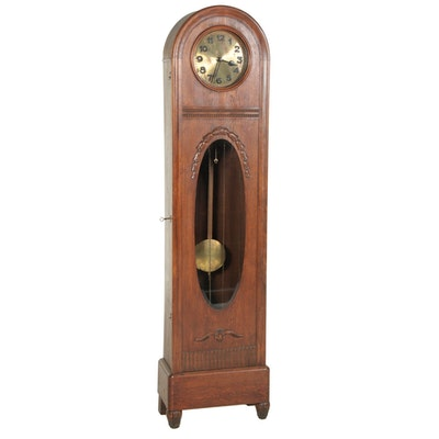 Round Top Oak Tall Case Clock, Early 19th Century
