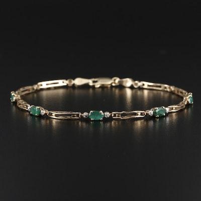 10K Gold Emerald and Diamond Bracelet