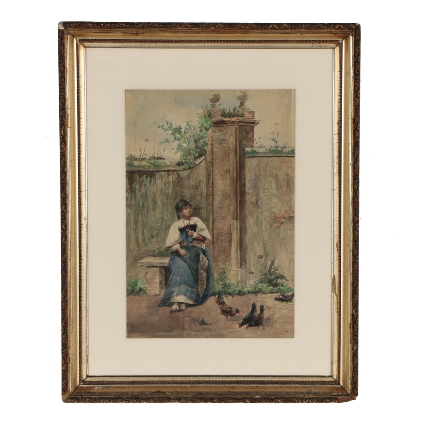 Italian Watercolor Painting of Young Girl