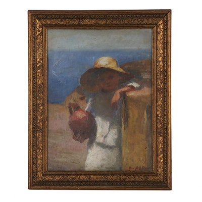 Figural Genre Oil Painting, Late 19th to Early 20th Century