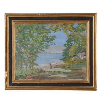 G. Manning Gale Oil Painting of a Bay View, 1933