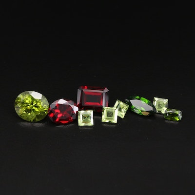 Loose Mixed Cut 9.67 CTW Garnet, 2.29 CTW Diopside and 8.98 CTW Peridot