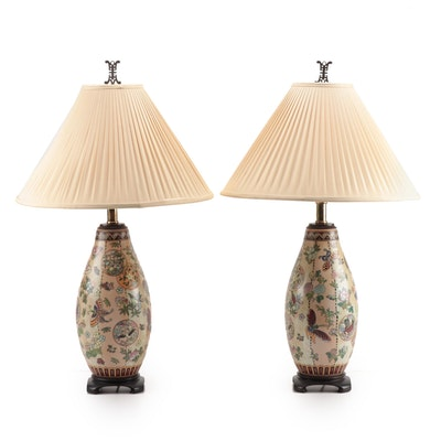 Pair of Maitland-Smith Hand-Painted Chinese Ceramic Lamps, Mid-20th Century