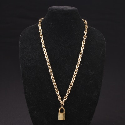 Louis Vuitton Brass Lock on Gold-Tone Necklace