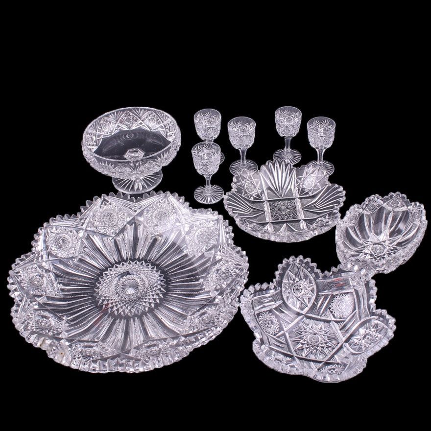 American Brilliant Cut Crystal Tableware and Stemware, Early to Mid 20th Century