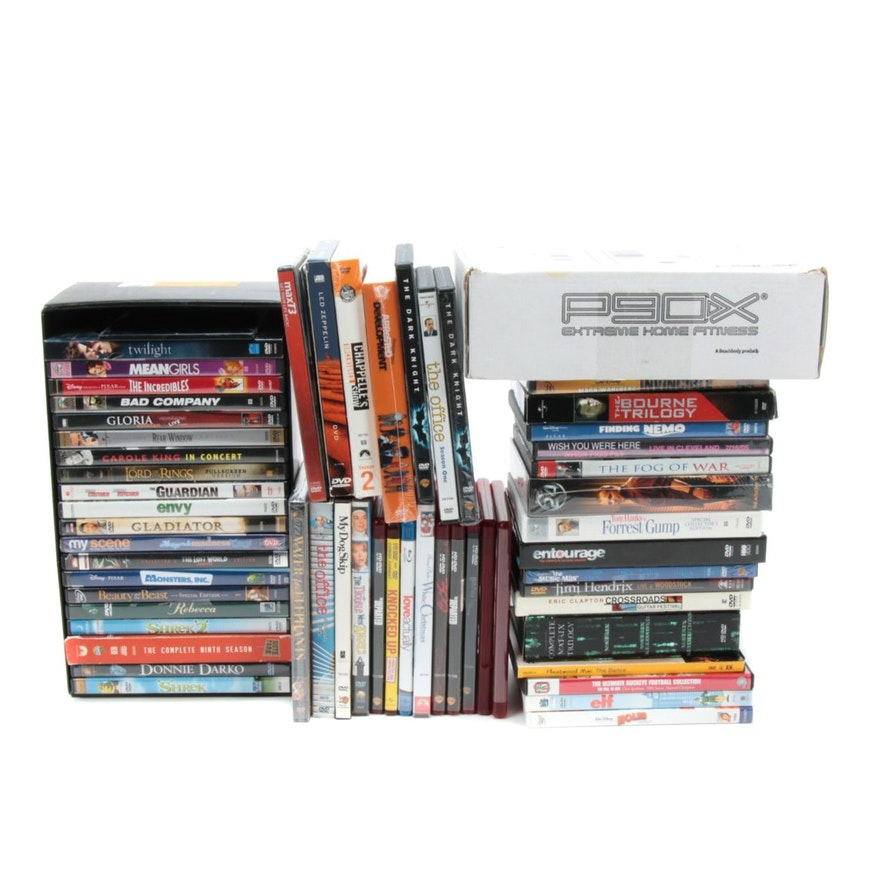 Led Zeppelin, Hendrix, The Office with Other Music and Movie DVDs