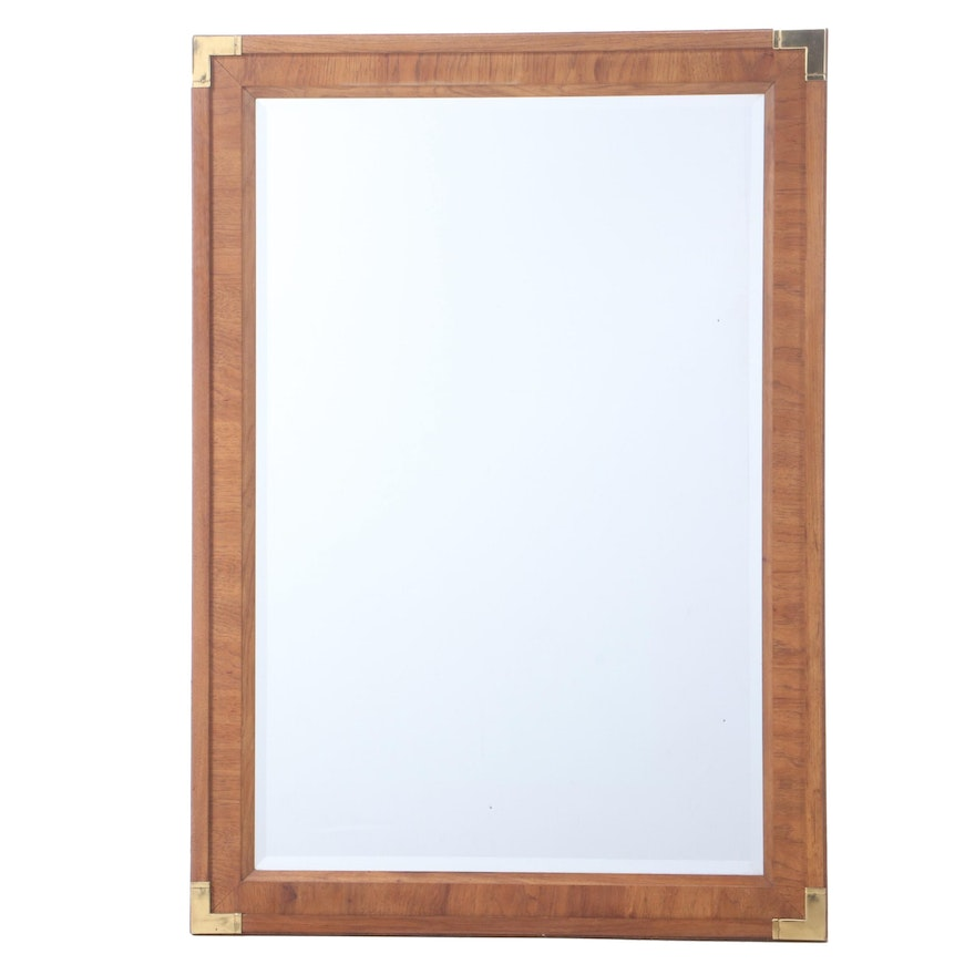 Brass-Mounted Walnut Mirror