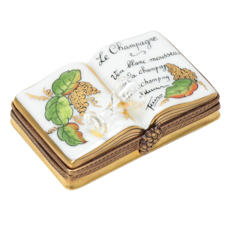 """Girard Ribierre """"Le Champagne Book"""" Hand-Painted Limoges Porcelain Box"""