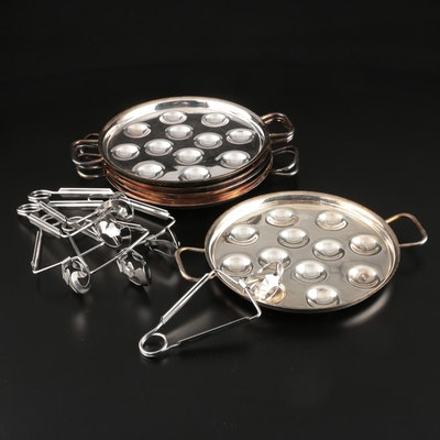 Christofle Silver Plate Escargot Plates and Tongs for Six