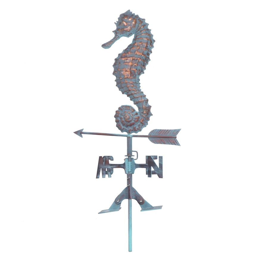 Handcrafted Metal Dimensional Seahorse Weathervane with Copper Patina Finish