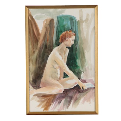 Robert L. Plogman Figure Study Watercolor Painting