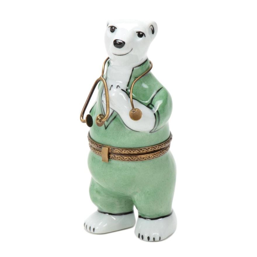 La Gloriette Doctor Polar Bear Hand-Painted Limoges Porcelain Box