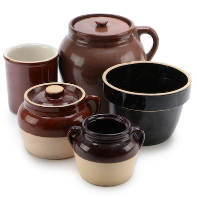 Salt Glaze Pottery Bean Pots, Crocks and Bowl