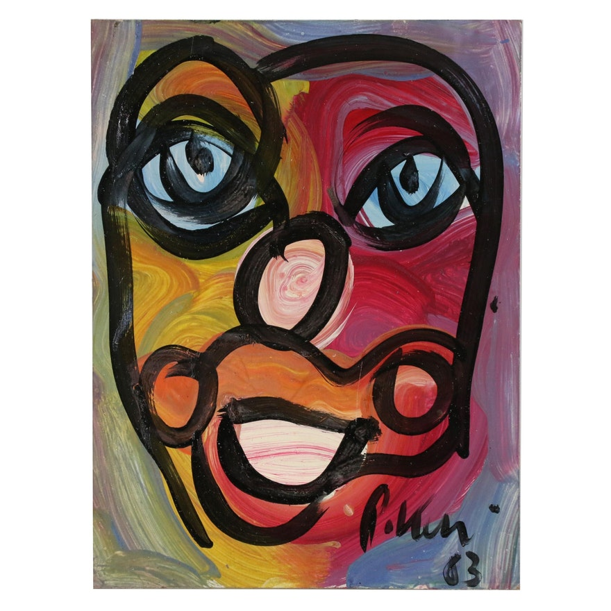 Peter Keil Abstract Portrait Oil Painting