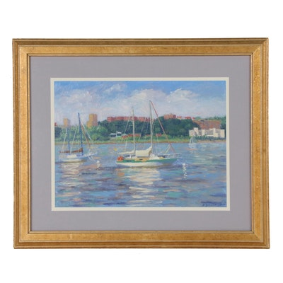D. Boileau Oil Painting of Sailboats in Harbor