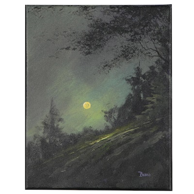 "Douglas ""Bumo"" Johnpeer Landscape Oil Painting ""Worm Moon"""