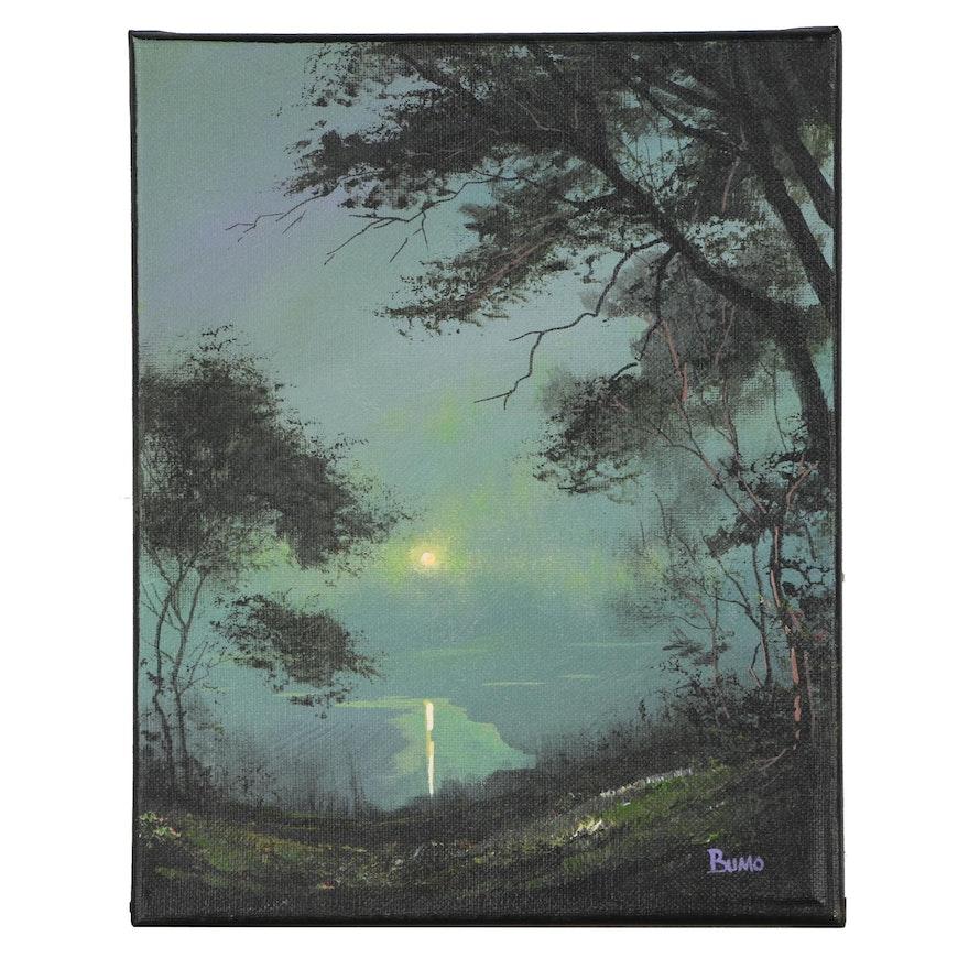 "Douglas ""Bumo"" Johnpeer Landscape Oil Painting ""Emerald Moon"""