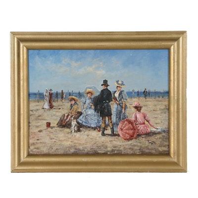 Victorian Style Beach Scene Oil Painting