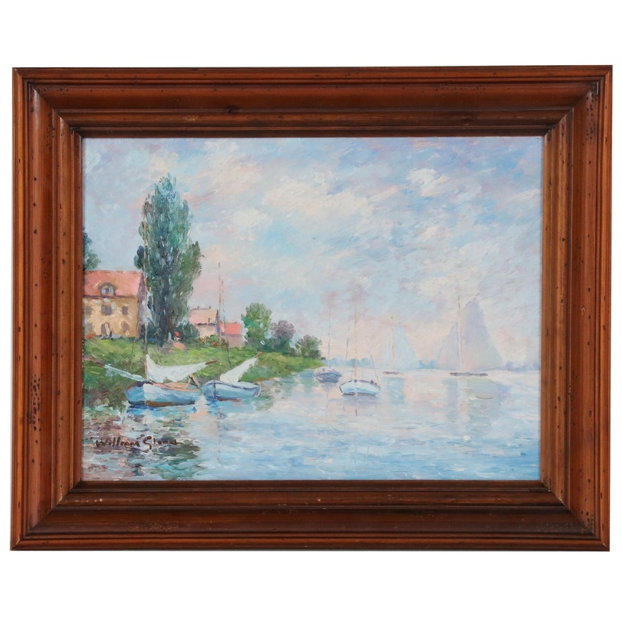William Sloan Landscape Oil Painting of Coastal Scene