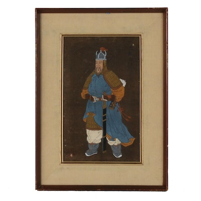 East Asian Gouache Painting of Warrior