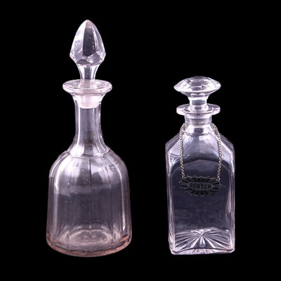 """Cut Crystal Decanters with """"Scotch"""" Label"""