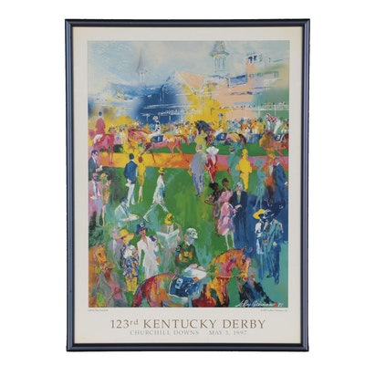 "Offset Lithograph after LeRoy Neiman ""Derby Day Paddock"""