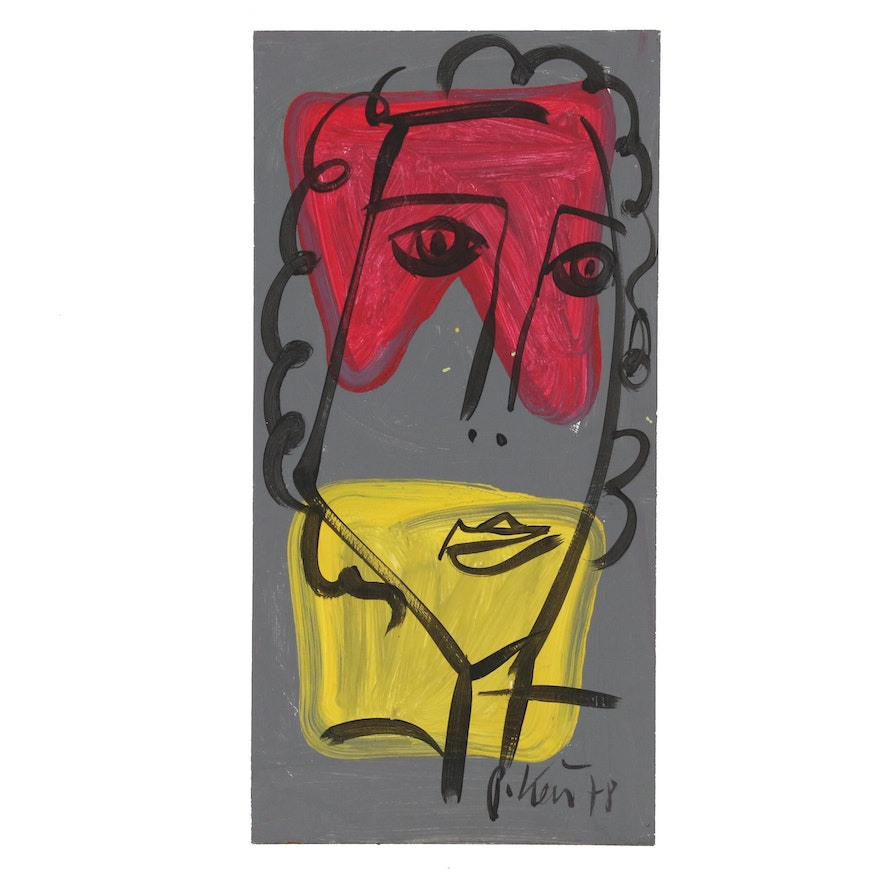 """Peter Keil Acrylic Painting """"Lady with Curls"""""""