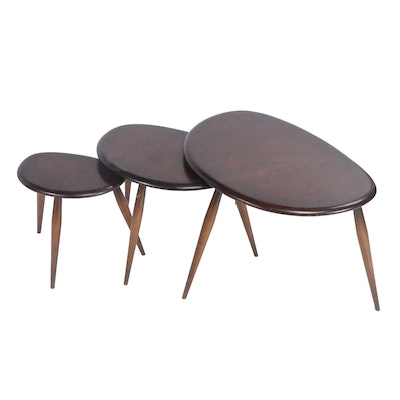 "Ercol ""Pebble"" Mid Century Modern Elmwood Nesting Tables"