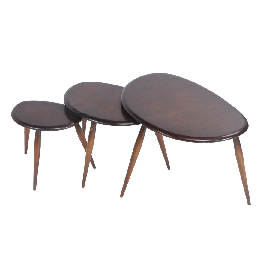 "Ercol ""Pebble"" Mid Century Modern Elmwood Nesting Tables"