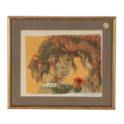 "Lucien Fontanarosa Lithograph of Girl ""Portrait"""