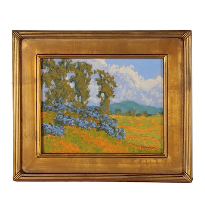 "Marc A. Graison California Impressionist Oil Painting ""Hillside Bloom"""
