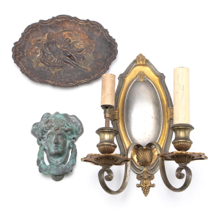 "Victorian Door Knocker, ""Venus and Cherub"" Plaque, Wall Sconce, Late 19th Ca."