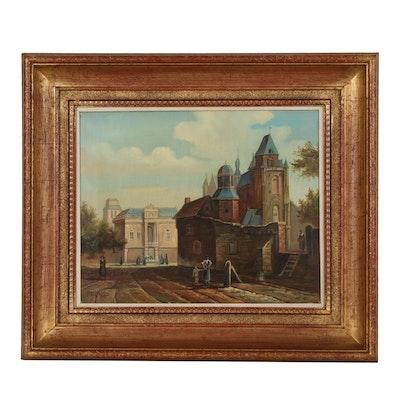 Oil Painting after Jan van der Heyden of a Dutch Capriccio Scene