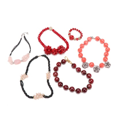 Faceted Beaded Glass Red and Pink Costume Jewelry