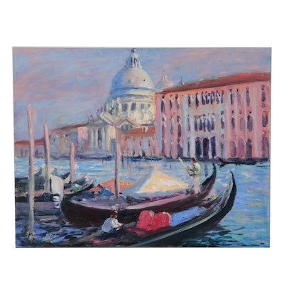 "Nino Pippa Oil Painting ""Venice - Gondolas on the Grand Canal"""