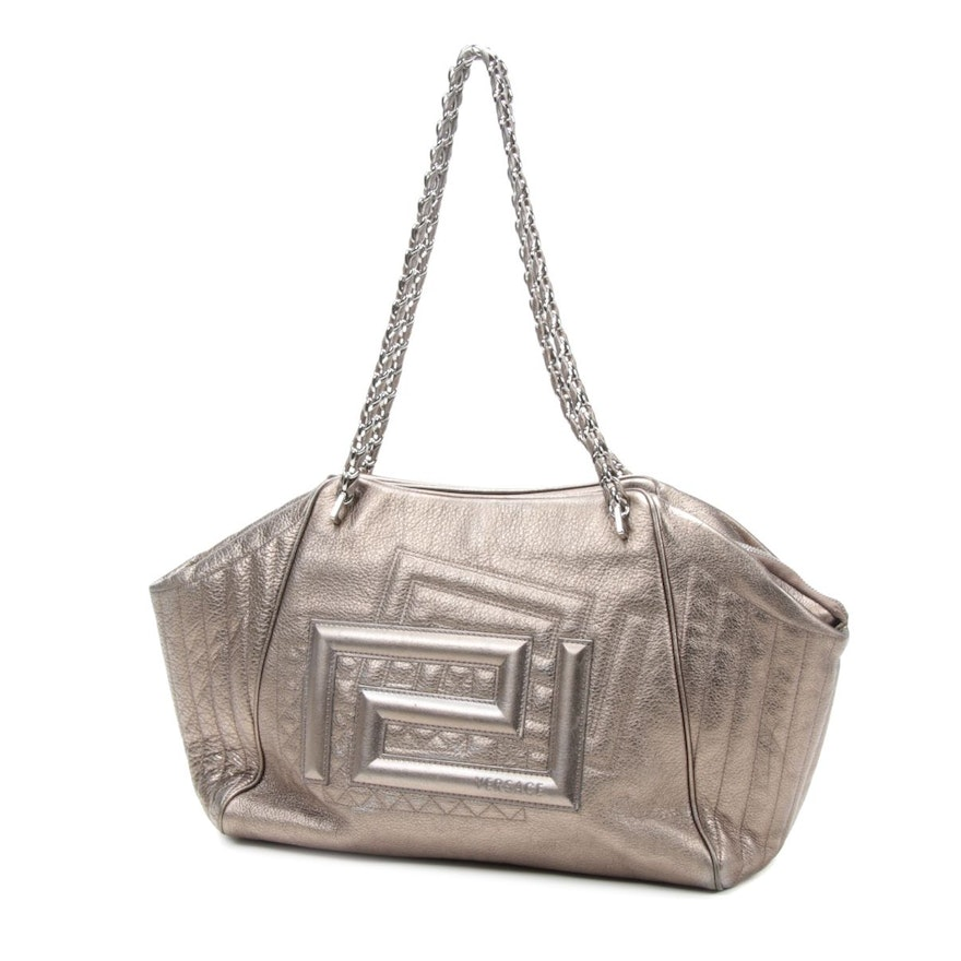 Versace Metallic Pebbled Leather Shoulder Bag with Chain Straps