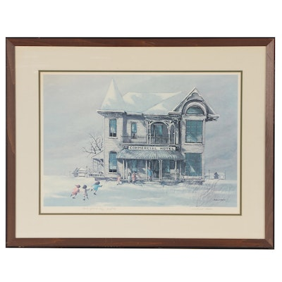 "Robert Fabe Offset Lithograph ""New Years Day"""