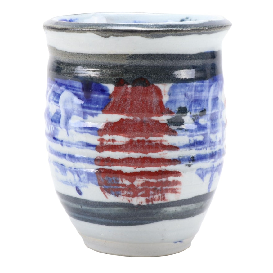 J.T. Abernathy Hand Thrown Glazed Studio Pottery Planter